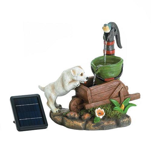 *18359U - Solar Power Puppy Dog Drink Water Fountain Yard Art