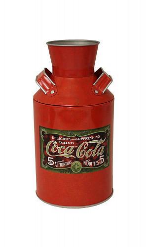 :10839U - Coca-Cola 5 Cents Vintage Red Steel Tin Milk Can Replica