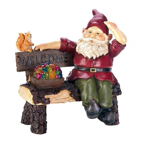 *18198U - Solar Gnome Figure On Welcome Bench Yard Art