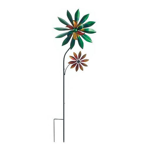 *18463U - Green Dahlia Iron Windmill Spinning Yard Art