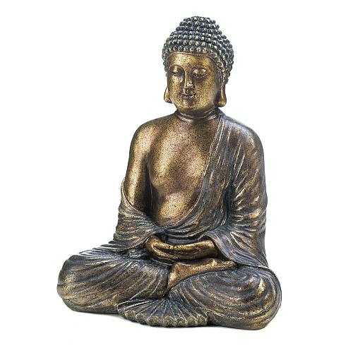 *17005U - Sitting Buddha Statue Metallic Bronze Color Finish Figurine