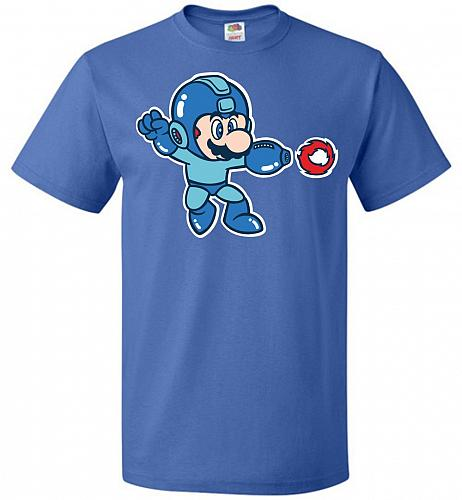 Mega Mario Unisex T-Shirt Pop Culture Graphic Tee (2XL/Royal) Humor Funny Nerdy Geeky