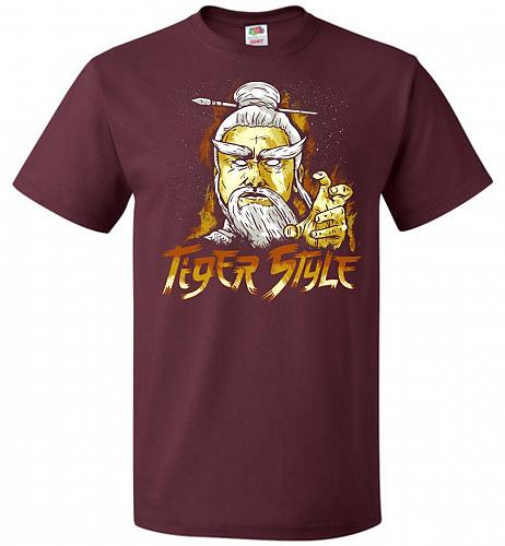 Tiger Style Unisex T-Shirt Pop Culture Graphic Tee (6XL/Maroon) Humor Funny Nerdy Gee