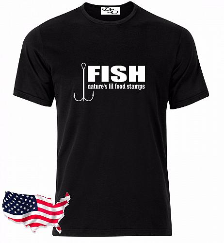 Fish Nature's Lil Food Stamps Fishing Graphic T-Shirt Hunting