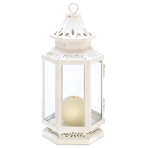 "13362U - Victorian Floral Cutwork White 10.5"" Iron Candle Lantern Glass Panels"
