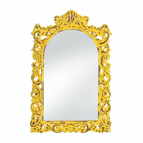 *18069U - Opulent Distressed Yellow Wood Frame Wall Mirror