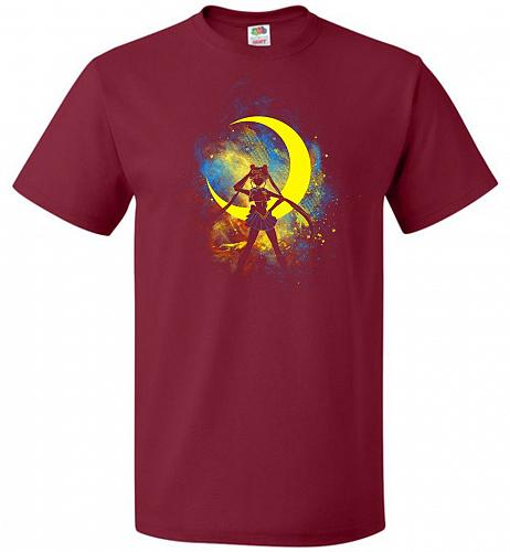 Moon Art Unisex T-Shirt Pop Culture Graphic Tee (S/Cardinal) Humor Funny Nerdy Geeky
