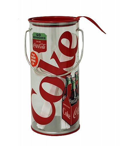 :10728U - Coke Coca-Cola Clear Tin Utensil Holder