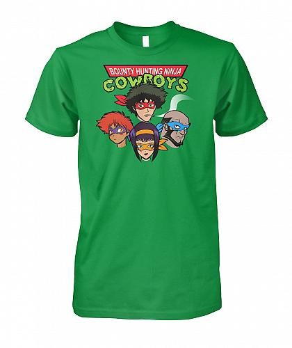 Bounty Hunting Ninja Cowboys Unisex T-Shirt Pop Culture Graphic Tee (2XL/Irish Green)