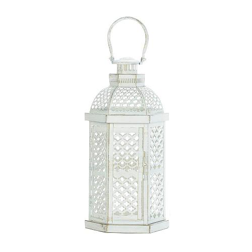 "*18353U - 16"" Distressed White Iron Moroccan Glamour Pillar Candle Lantern"
