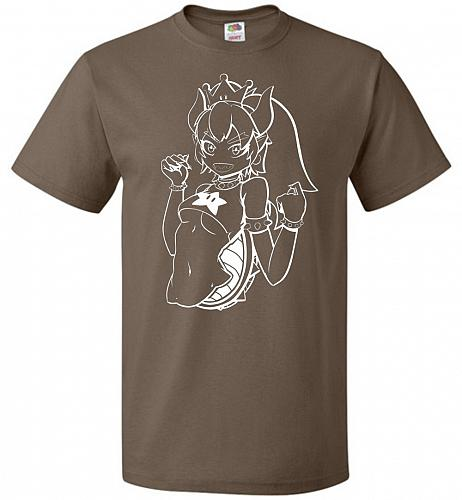 Bowsette Unisex T-Shirt V2 Pop Culture Graphic Tee (3XL/Chocolate) Humor Funny Nerdy