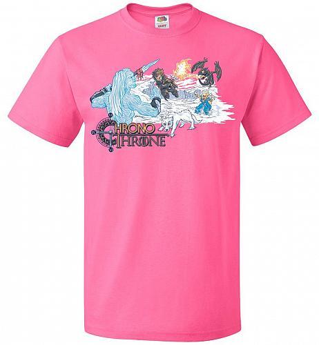 Chrono Throne Unisex T-Shirt Pop Culture Graphic Tee (2XL/Neon Pink) Humor Funny Nerd