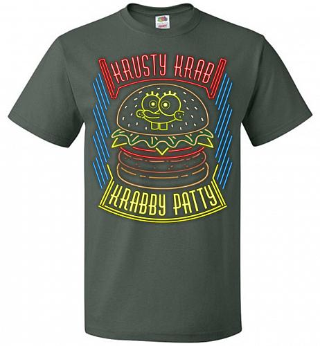 Krusty Krab Krabby Patty Adult Unisex T-Shirt Pop Culture Graphic Tee (XL/Forest Gree