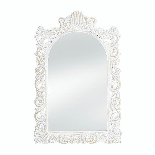 *18068U - Grand Distressed White Wood Frame Wall Mirror