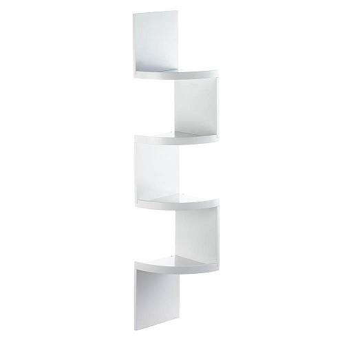 *17994U - Zig Zag 4-Tier White Wood Corner Shelf w/Drawer