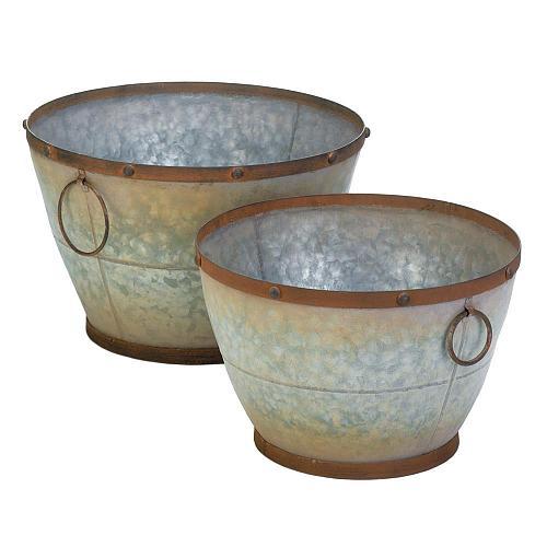 *18398U - Tapered Galvanized Planters Set of 2 Pots