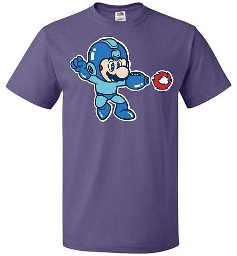 Mega Mario Unisex T-Shirt Pop Culture Graphic Tee (6XL/Purple) Humor Funny Nerdy Geek