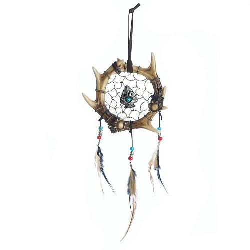 *18472U - Antler Arrowhead Turqouise Bead Dreamcatcher Wall Decoration