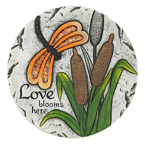 """*18544U - Love Blooms Here Butterfly 10"""" Cement Stepping Stone"""