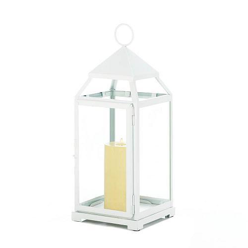 """*18114U - Large 18"""" White Contemporary Metal Pillar Candle Lantern"""