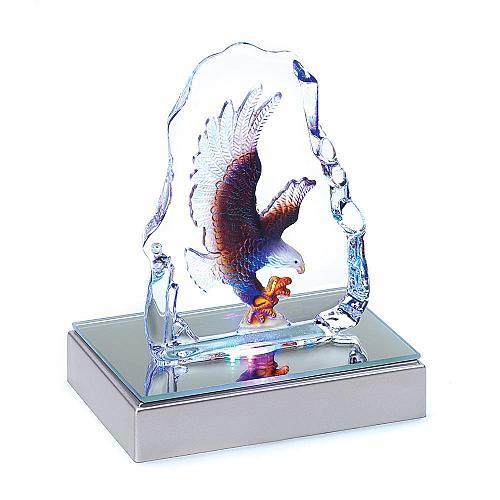39360U - LED Color Change Light Glass Crystal Eagle Sculpture