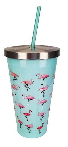 :10852U - Pink Flamingo On Aqua Stainless Steel 16oz Cup w/ Straw