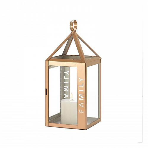 "*18526U - Rose Gold Metal Frame FAMILY Stencil Cut 13.8"" Pillar Candle Lantern"