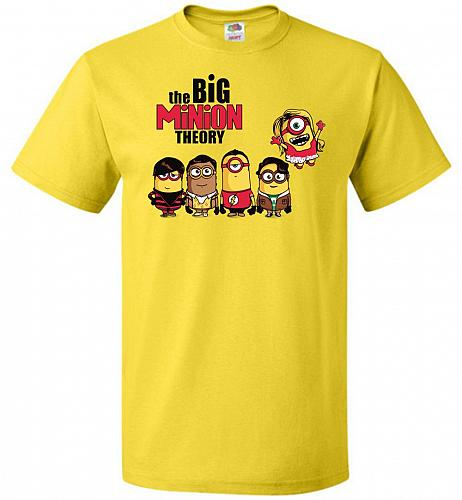 The Big Minion Theory Unisex T-Shirt Pop Culture Graphic Tee (6XL/Yellow) Humor Funny