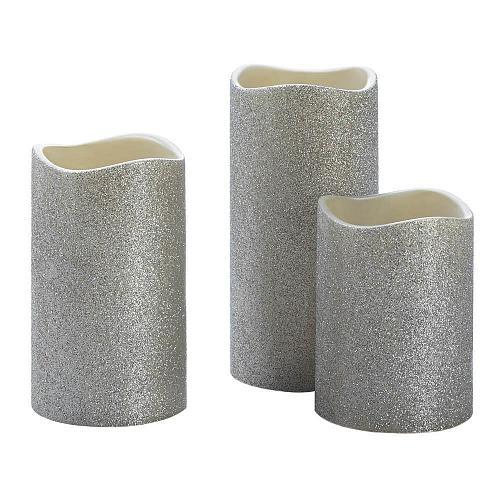 ":11009U - Silver Glitter Flameless 4"" 5"" 6"" LED Pillar Candle Set Of 3"