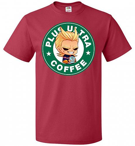 Plus Ultra Coffee Unisex T-Shirt Pop Culture Graphic Tee (XL/True Red) Humor Funny Ne