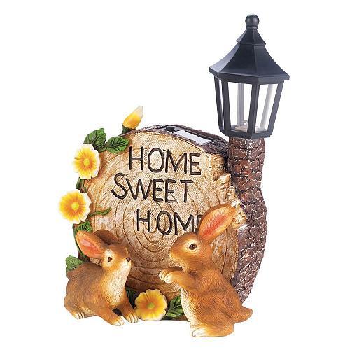 *18201U - Solar Home Sweet Home Bunnies Figure Lamp