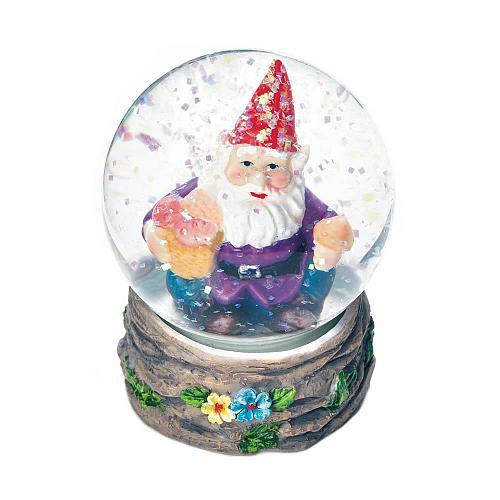 *18442U - Happy Garden Gnome Figurine Mini Glass Snow Globe