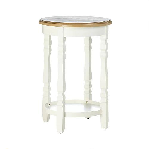 *17872U - Wood Round Top White Accent Side Table