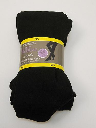 Women 2PK Footed Fleece Tights SIZE M/L Solid Black Super Opaque Soft Warm Comfo