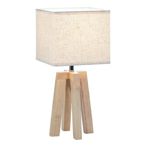 *18333U - Geometric Light Wooden Table Lamp Rectangle Fabric Shade