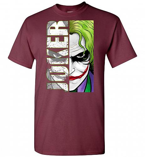 Joker Unisex T-Shirt Pop Culture Graphic Tee (XL/Maroon) Humor Funny Nerdy Geeky Shir