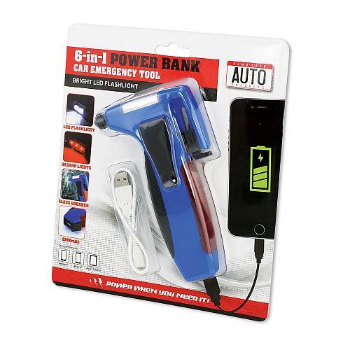 :10686U - 6 In 1 Car Auto Emergency Tool W/USB Power Bank Flashlight
