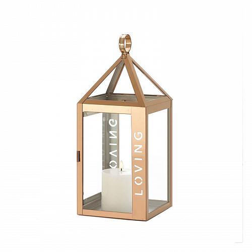 "*18528U - Rose Gold Metal Frame LOVING Stencil Cut 13.8"" Pillar Candle Lantern"