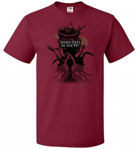 7 Days In The Pit Unisex T-Shirt Pop Culture Graphic Tee (2XL/Cardinal) Humor Funny N