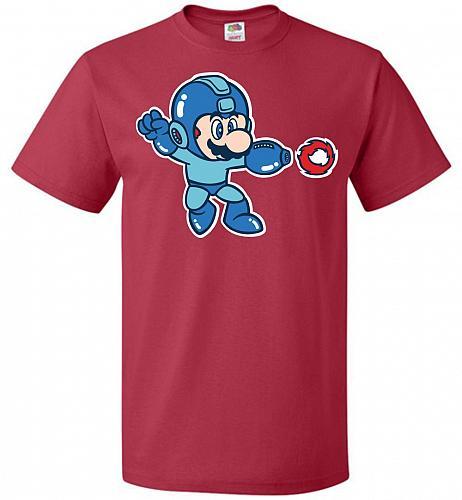 Mega Mario Unisex T-Shirt Pop Culture Graphic Tee (5XL/True Red) Humor Funny Nerdy Ge