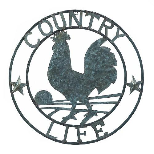 """*18362U - Galvanized 24"""" Round Rooster Country Life Art Sclupture Wall Decor"""