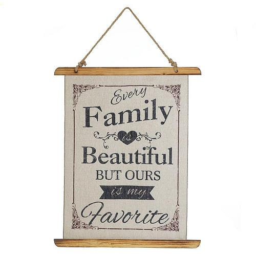 *18387U - Every Family Is Beautiful Linen Wall Art