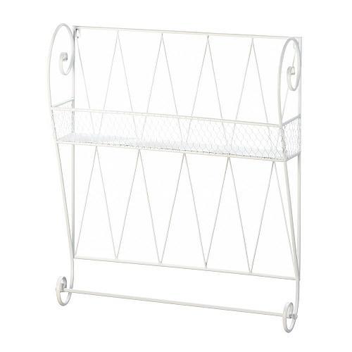 *18382U - White Iron Wire Wall Shelf Towel Bar