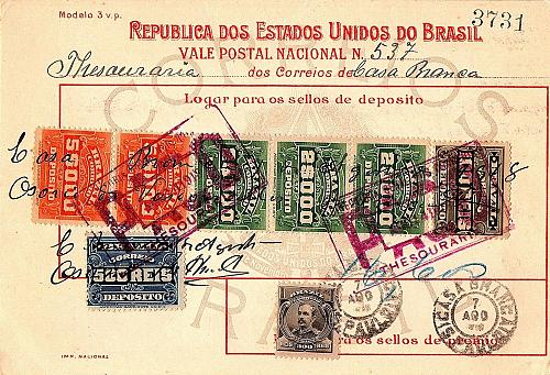 August 14, 1918 Republic of the United States of Brazil Postal Savings Card (2)
