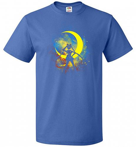 Moon Art Unisex T-Shirt Pop Culture Graphic Tee (L/Royal) Humor Funny Nerdy Geeky Shi