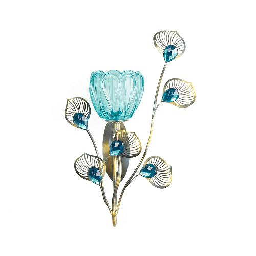 *18048U - Peacock Blossom Single Turquiose Fluted Cup Wall Sconce