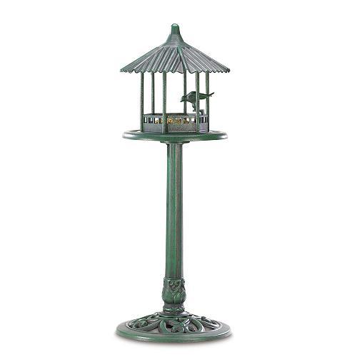 38676U - Verdigris Gazebo Standing Birdfeeder Yard Art