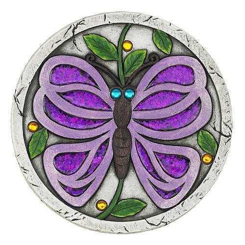 "*18538U - Purple Butterfly 10"" Cement Garden Stepping Stone"