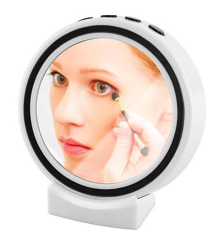 :11003U - Bluetooth Portable Wireless Speaker Makeup Mirror LED Alarm Clock