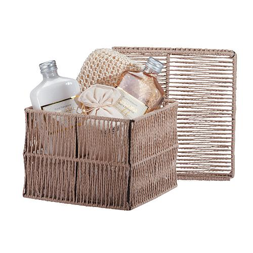 34183U - Pure Pleasures Vanilla Milk Gift Set Gel Lotion Salts Cord Basket